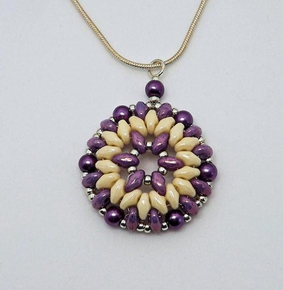 Purple and Cream Round Pendant SKU: NK1010