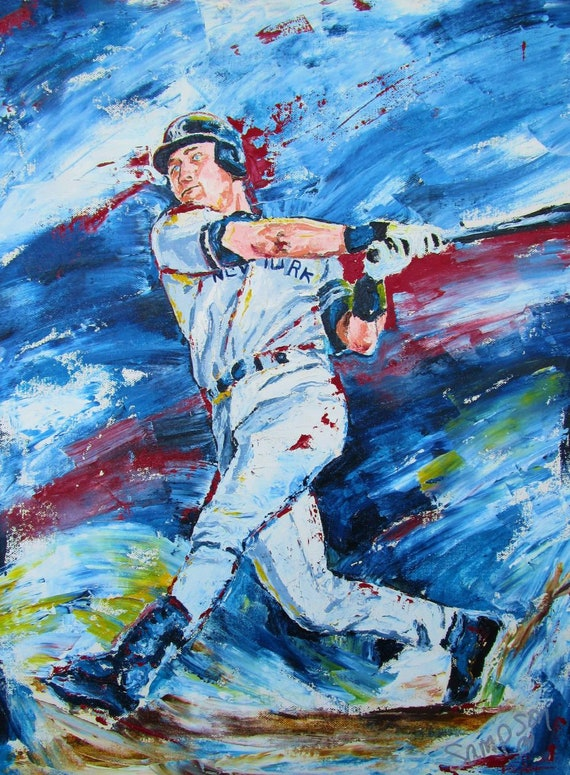 New York Yankees Derek Jeter Original Oil Sports Baseball Painting Oil on Canvas