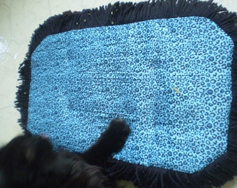Catnip Crinkle Mat Toy Bed Leopard type pattern with black Fringe for cats and ferrets Recycled