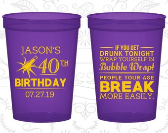 40th Birthday Party Cups, Personalized Party Favor Cups, Beer Birthday Cups, People your age break more easily,Birthday Party Cups (20088)