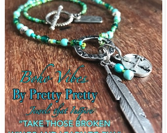 Feather & Compass-Boho Vibe-Necklace