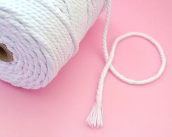 Macrame Cord 4mm - White Chunky Bakers Twine - 100m Spool - Twisted Cotton Macrame Rope