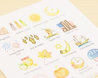 US Holidays Watercolor Planner Stickers - Large, Two Sheet Set (Inkwell Press, Erin Condren, Plum Paper, Fliofax, Kikki K, Happy)