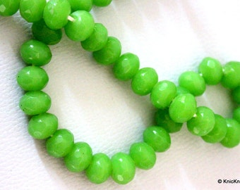 15 x Green Faceted  Opaque Glass Rondelle Beads 10mm