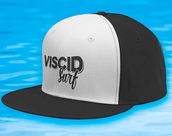 Viscid Surf Flat Bill Snapback Hat (Black &White/Black Logo)