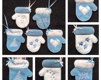 """Christmas Mitten Ornaments, Christmas embroidery applique Design for the 4x4"""" hoop. This is a digital design file only not a ready made item"""