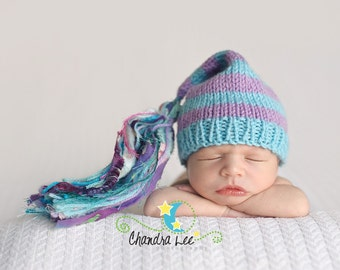 Newborn Girl Hat Knit 3 6 12 month BaBY PHoTO PRoP Aqua Mauve Stripe Stocking Cap BiG TaSSeL Beanie CHuCKLE CaP Coming Home Toque PiCK CoLOR