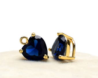 2 Heart Montana Blue Crystal Glass Pendant, 12mm, Gold Plated over Brass Prong Setting. [H0020300]