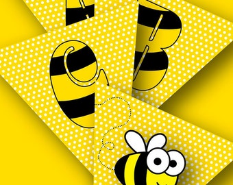 Busy-Bee Alphabet Bunting A to Z – PRINTABLE!