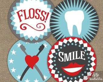 Dental Cupcake Toppers - Printable Dental Hygienist Cupcake Toppers Favor Tags - Dentist & Dentistry Party Printables - Teeth Toppers
