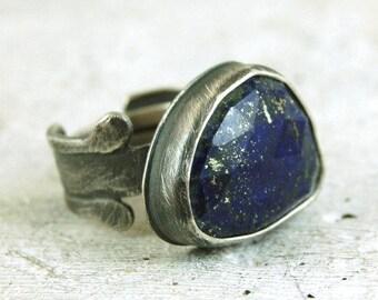 lapis lazuli silver ring, oxidized silver statement ring, lapis lazuli with pyrite