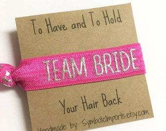 Metallic Silver & Hot Pink Team Bride Hair Tie - Bridesmaid Hair Tie Favor - Bachelorette Party Favor - Elastic Hair Tie Bracelet