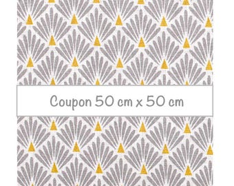 Coupon fat quarter 50 cm x 50 cm, fabric scales grey, fabric art deco