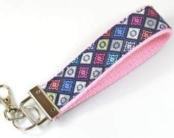 DIAMOND design keychain, Fabric keychain, Girly keychain, Fabric key fob, Pink keychain, Pink wristlet, Pink blue keychain