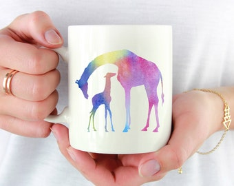Giraffe Mug - Giraffe Lover Gift - Colorful Giraffe and Baby Watercolor Art Mug - Giraffes Coffee Mug - Unique Animal Gifts