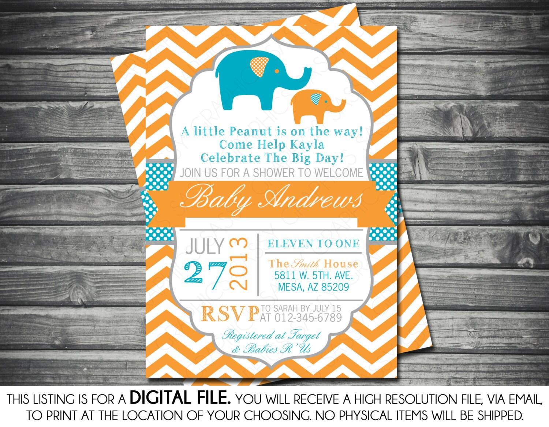 Boys Baby Shower Invitation Elephant Theme Orange Blue