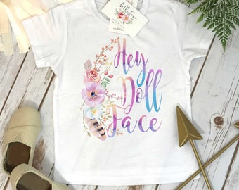 Cute Girl Gift, Hey Doll Face, Baby Shower Gift, Boho Baby Clothes, Cute Baby Clothes, Baby Girl Clothes, Baby Girl Gift, Niece Gift, Boho
