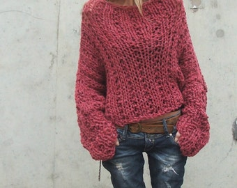 Dusky Redish pink chunky sweater / chunky sweater 2 left in this shade