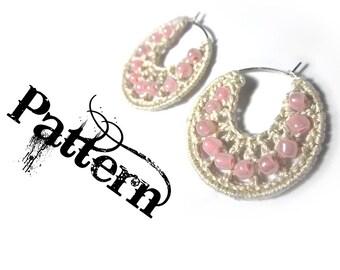 Crochet Pattern - Beaded Hoop Earrings