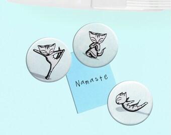 Cat Fridge Magnets - yoga bikram namaste instruction present crazy cat lady x 3