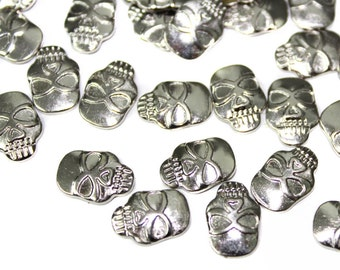 Silver Iron On Gothic Skull Studs, Skull Cabochons , Flat Back Silver Rivets