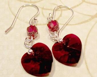 Crystal Heart Earrings Swarovski Crystal Valentine Gift