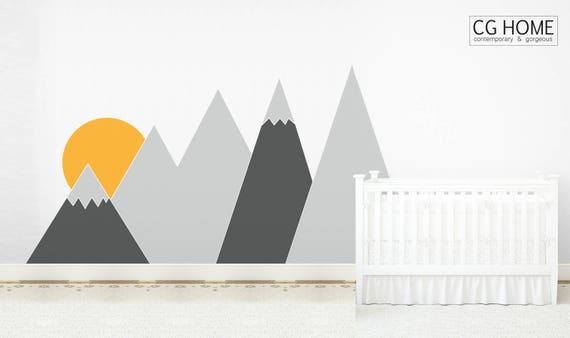 Mountains Wall Decal Nursery For Kids Room Wall Covering Sun Wall Protection Headboard Corner Mountain Custom washable self adhesive Sticker