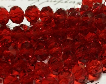Glass Beads - Red Faceted Beads -  8mm x 6mm  -  Red Glass Beads - 42 pcs.