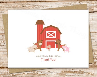 farm thank you cards . folded note cards . farm notecards . cow horse barn barnyard stationery . set of 8
