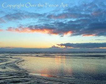 Nature Photography Beach Photo Greeting Card Sunset over Pacific Ocean Reflected in Water Handmade OOAK
