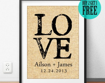 Personalized Wedding Decor, Engagement Gift, Anniversary Gift, Gift for Couple, Bridal Shower Decor, Rustic Wall Art, Burlap Print, CM24