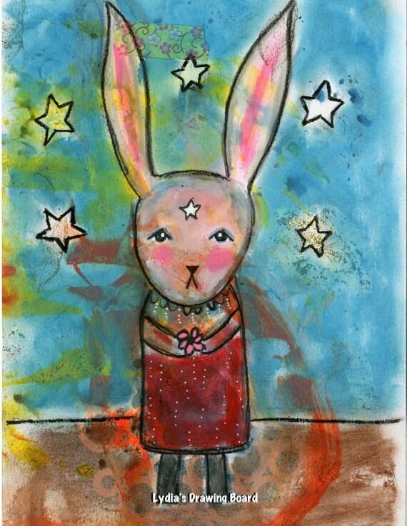 Rabbit Art, Rabbit, Bunny Art, Stars, Whimsical Art, Mixed Media Collage Art, Mixed Media Print, Girl Art, Gift for Kids, Kids Room Wall Art