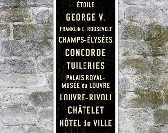 SMALL Paris Subway Sign, Paris Subway Art, French Sign, Paris Poster, Paris Wall Decor, Travel Lover Gift, Bus Scroll, Travel Art, 12x36.