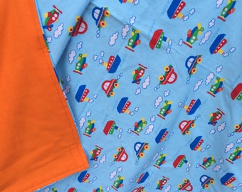 Flannel Baby Blanket / Kid Car Blanket - Cars and Planes on Blue, Personalization Available