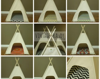 "Dog/Cat Teepee Pet Tent -Small 24"" base Natural Canvas PICK YOUR PILLOW  Ready to Make or Custom Order it - Tenthouse Suite by Vintage Kandy"
