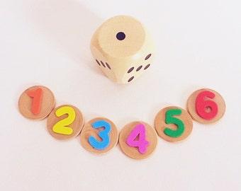 Wooden Number Disc & Jumbo Dice Teaching Aid, Montessori Classroom Resource, Educational Activity