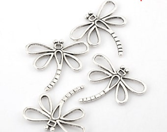 10 Pieces Antique Silver Dragonfly Charm Pendants