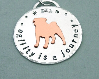 Pug Dog Agility Necklace - Sterling Silver and Copper - agility is a journey - Canine Agility Jewelry