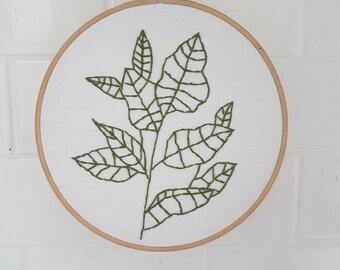 "Medium ""leafy greens"" handmade embroidery hoop art (175mm)"