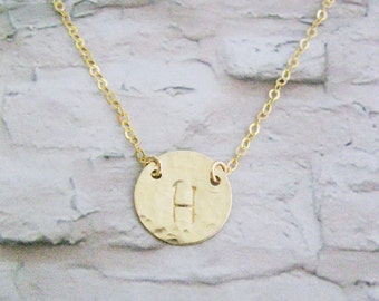 Monogram necklace, Gold initial necklace, Hand stamped initial, Simple necklace, Personalized necklace, Hammered disc necklace,