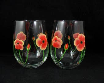 Stemless Wine Glasses Poppy Flowers Red Yellow Hand Painted Set of 2