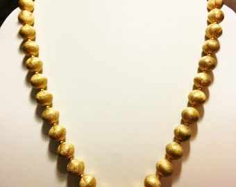 Textured Gold Bead Necklace