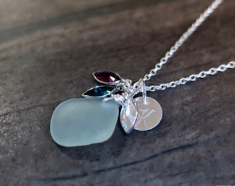Birthstone Sea Glass Necklace, Beach Glass Initial Charm Necklace, Gifts for Women, Birthstone Charm Necklace, Silver
