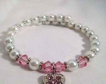 October birthstone bracelet, Rose birthstone bracelet, Swarovski crystal bracelet, birthstone jewelry, October jewelry, Rose bracelet