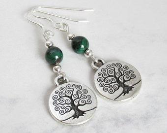 Baum des Lebens, Malachit und Sterling Silberperlen, Sterling Silber Ohrhaken