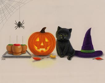 Halloween Things Original Colored Pencil Art