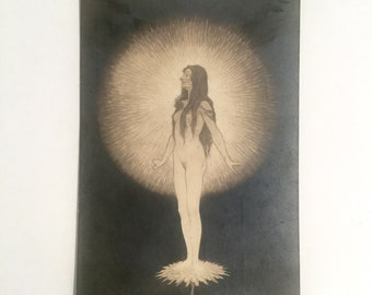 Fidus Postcard #105, Tempeltanz Der Seele or Temple Dance of the Soul, Ca: 1920s.