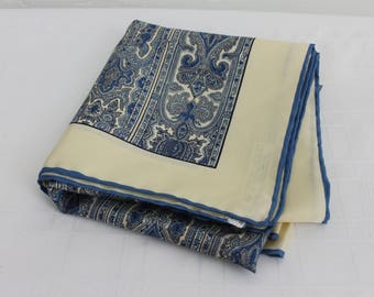 Vintage Scarf Italian Silk Blue/Beige Elegant