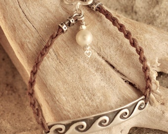 """Braided Leather with Fine Silver Bar Antiqued Wave Bracelet with Heart Toggle and Pearl Charm 7"""""""