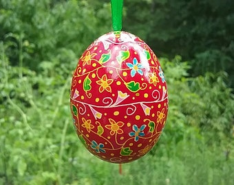 Red floral meander duck egg hanging pysanka